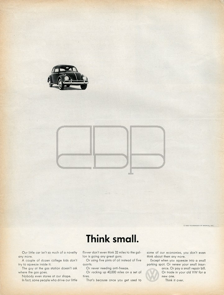 CARTEL VOLKSWAGEN THINK SMALL 1962
